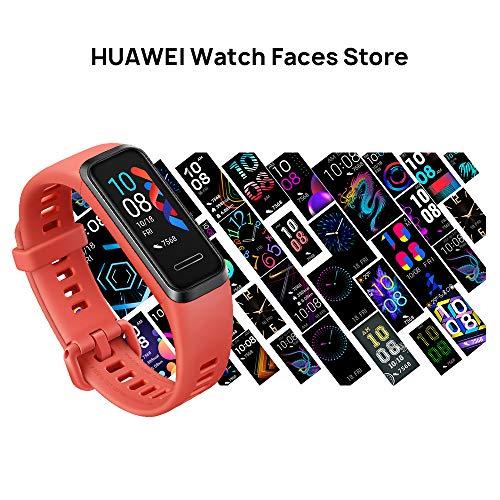 HUAWEI Band 4- Pulsera de actividad con pantalla a color TFT de 0.96 pulgadas, monitorización continua con HUAWEI TruSeen 3.5 24/7, monitoreo del sueño, resistencia al agua 5ATM, Amber Sunrise