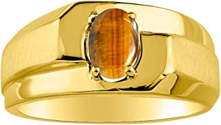 RYLOS 14K Yellow Gold Ring Classic Solitaire Oval Shape Gemstone in Designer Band - 7X5MM Color Stone