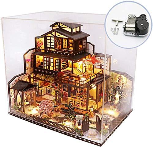 Feeyond Casa De Muñecas De Bricolaje A Prueba De Polvo Y Música, Kit De Miniatura Estilo Japonés Villa De Tres Pisos Muebles De Jardín Luz LED Regalo De Cumpleaños para Niños Niña Niño
