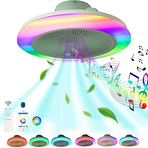 Ventiladores de Techo Altavoz Bluetooth Ventilador Techo con Luz y Mando a Distancia LED RGB Silencioso Música Regulable Ventilador Color App Smart Plafon Iluminación Luces Dormitorio Comedor 48CM