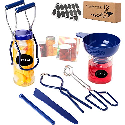 6Pcs Canning Pickling Kit Supplies,Ball Starter Kits Set,Kitchen Pot Essentials Tools for Rack Hot Sauce Making in Beginners,Canner Funnel,Jar Lifter&Wrench,Magnetic Lid Lifter,Tongs,Bubble Measurer