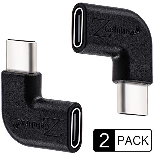 Cellularize Right Angle USB C Adapter (2 Pack, Black) 3.1/10Gbps Low Profile 90 Degree Right & Left Angle USB Type C Male to Female Extension for Nintendo Switch, Laptop, Tablet, Mobile Phone