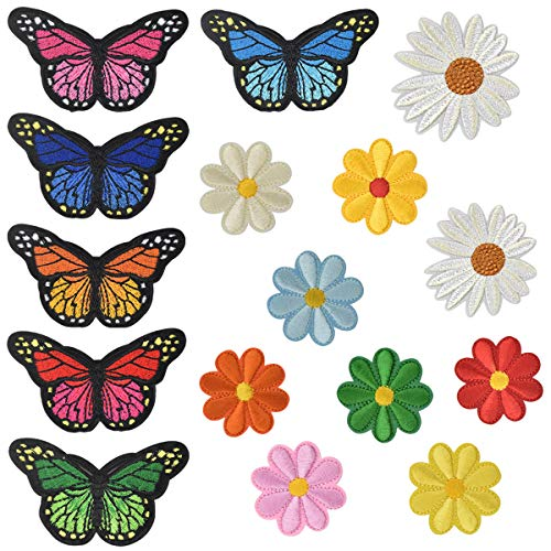 Applique Patches Sew on Patches for Clothing Embroidered Patch Floral Iron on Patches for Jeans Backpacks Shoe Hat Bag Jackets, Flowers Butterflies Pattern for Kids Adults Garment Decoration DIY Craft