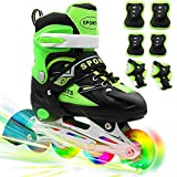 PETUOL Kids Inline Skates, Adjustable and Safe Durable Roller Skates with All 8 Full Light Up...