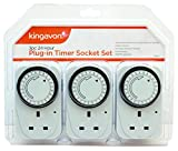 Kingavon 1 BB-TS210 24 Hour Plug-in Timer Socket Set, Set of 3 Pieces