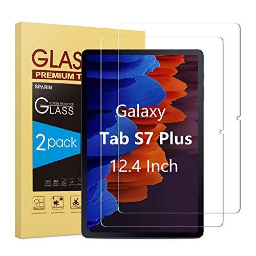 SPARIN [2 Pièces] Verre Trempé pour Samsung Galaxy Tab S7 Plus (12.4 Pouces), Film Protection Écran pour Samsung Galaxy Tab S7+, Support de S Pencil