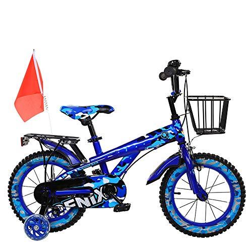 YUMEIGE Kinderfahrräder Kinderfahrräder, mit Rücksitz Kinderfahrrad mit Stützrad 12 14 16 18 Zoll Geeignet für 3-9 Kinder Jahre alt Geschenk (3 Farben) (Color : Blue, Size : 14in)