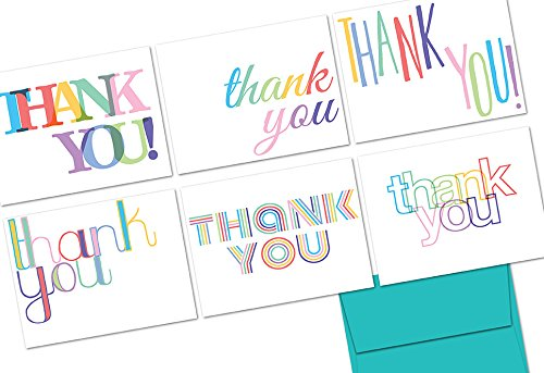 Note Card Cafe Thank You Cards with Aqua Blue Ocean Envelopes | 72 Pack | Rainbow Letters Thank You | Blank Inside, Glossy Finish | for Greeting Cards, Occasions, Birthdays, Gifts