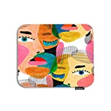 Moslion Face Mouse Pad Modern Art Painting Women Face Eyelash Hair Doodle Circle Gaming Mouse Pad Rubber Large Mousepad for Computer Desk Laptop Office Work 7.9x9.5 Inch
