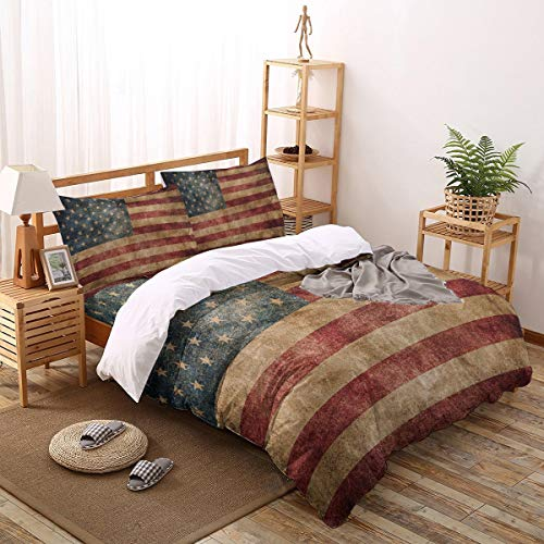 T&H XHome 4 Pcs Bedding Duvet Cover Set Full Size 1 Luxury Comforter Cover 2 Pillow Cases 1 Flat Sheet Vintage American Flag Soft Breathable and Durable Bedding Set for Kids Teens Adults
