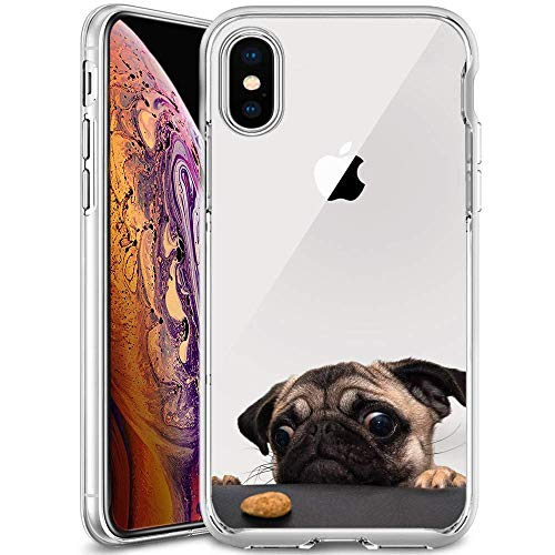 Slim Clear Lovely Pug Case for iPhone Xs Max Customized Design Soft TPU and Rubber Flexible Durable Shockproof iPhone Xs Max Protective Case-Anti-Slippery