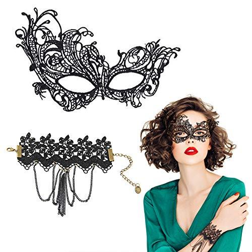 EQLEF® Black Lace Masquerade Eye Mask Con braccialetti registrabili del merletto nero per costume cosplay Halloween