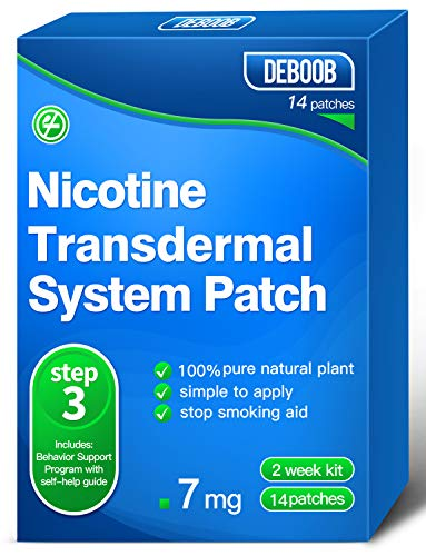 Nicotine Patches Step 3 - Stop Smoking Aids That Work,Delivered 24 Hours Transdermal System to Easy and Effective to Quit Smoking,Harmless Stop Smoking aid Nicotine Patches,7mg,14 Count
