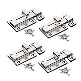yuoip® chiavistello scorrevole in acciaio inox, serratura di sicurezza per bagno, finestra, mobili, cancelletto per animali domestici, 6,50 cm (4 pezzi)