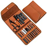 Gifts for Men/Women, Stainless Steel Manicure Set with PU leather case, Personal care tool (brown)