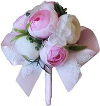 Estyle 时尚婚礼人造花手腕胸饰新娘新娘胸针手镯男士女士百搭 Pale Pink (Corsage)