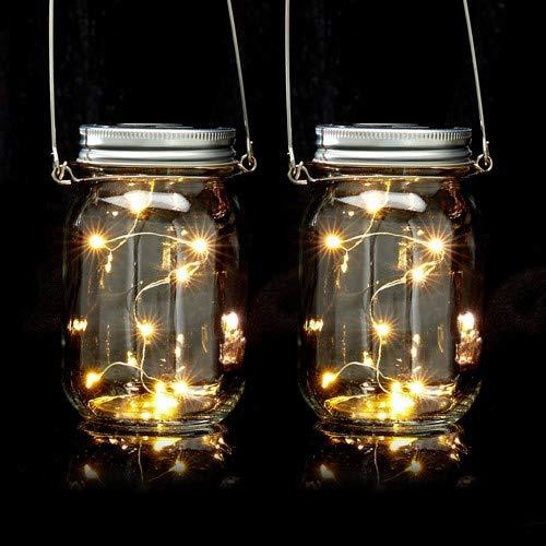 Relaxdays Solar Glas 2er Set, je 8 LED im Einmachglas, Stellen oder hängen, Solarleuchte für den Garten, transparent