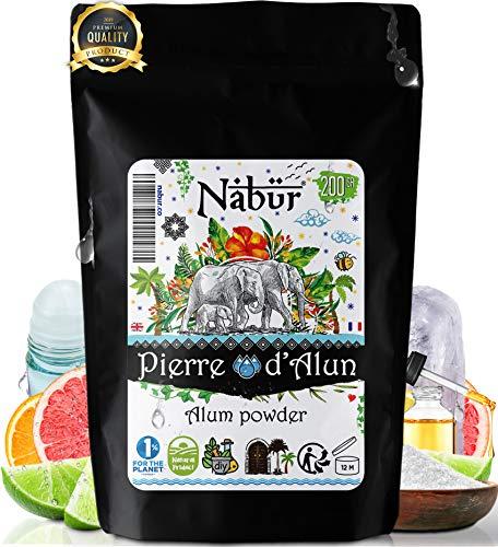 Nabür - Alaunpulver 200 Gr | Kristalle, Natürliches Alaunstein-Pulver - 100% Kalium-Alaun, Alaun-Salz | DIY Deo, Entschlackung