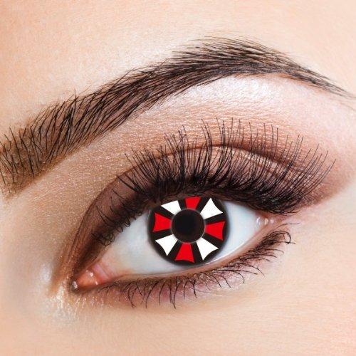 aricona Kontaktlinsen - Farbige Kontaktlinsen mit schwarzen, weißen und roten Effekten - Jahreslinsen ohne Stärke für Halloween, Fasching, Karneval & Kostüm-Partys, 2 Stück
