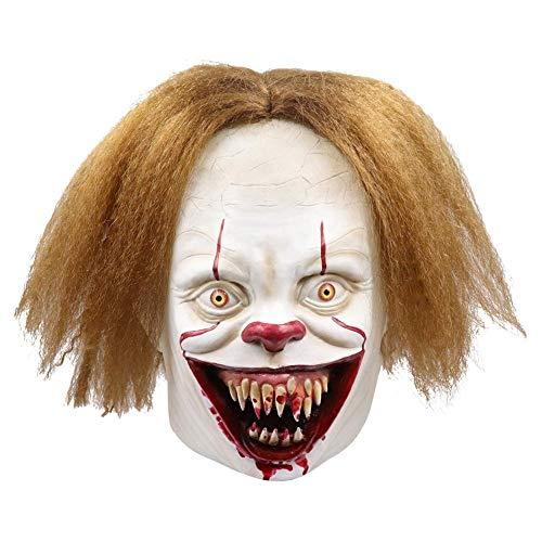 2019 Blutige Reißzähne Clown Return Seele Maske, Halloween Latex Terror Scary böser Maske, Abschlussball-Partei-volle Gesichts-Kopfschmuck verkleiden, Unisex One Size ZHW345