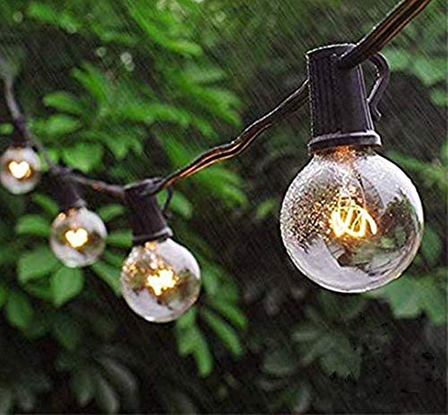 Outdoor String Lights G40 for Indoor and Outdoor Decor Wedding Light Backyard Light 27ft Warm White Perfect for Patio Cafe Garden Festoon Party Decoration(3 Spare Bulbs + 3 Fuse)