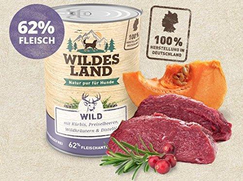 Wildes Land | Nassfutter für Hunde | Nr. 7 Wild | 6 x 800 g | mit Kürbis, Preiselbeeren, Wildkräutern & Distelöl | Glutenfrei | Extra viel Fleisch | Beste Akzeptanz und Verträglichkeit
