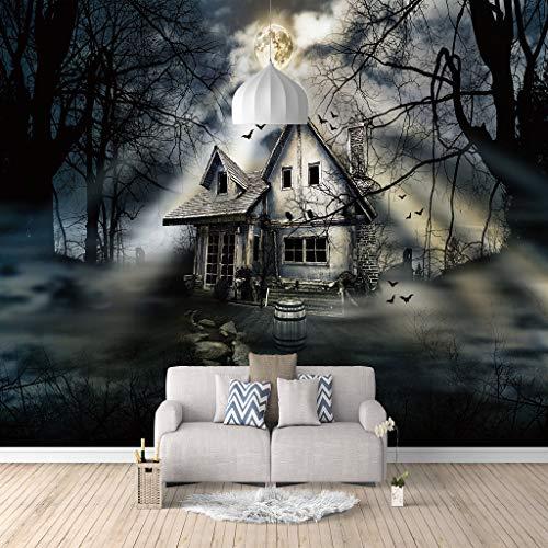 Hermosos Mural de pared 200(Ancho) X140(Alto) Cm 3D Papel Pintado fotos Viejo castillo bajo la noche de luna Sala de estar dormitorio decoración del hogar póster Fotomurales