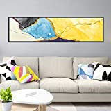 N / A Modern Painting Abstract Colorful Block Canvas Wall Yellow Blue Wave Picture Decoration For Living Room Bedroom Bedside Frameless 45x160cm
