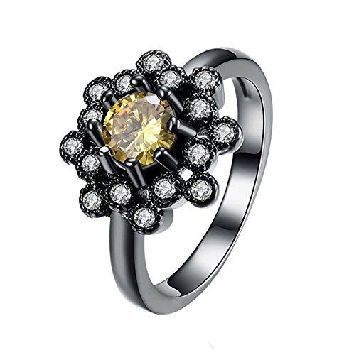 Beydodo Frauen Ring Vergoldet Rund Champagner Kristall Schneeflocke Verlobungsring Schwarzring Größe 57 (18.1)