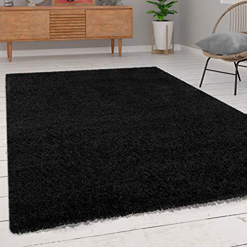 Paco Home Shaggy Hochflor Langflor Teppich Sky Einfarbig in Schwarz, Grösse:40x60 cm