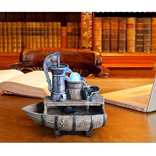 Fontanna na pulpicie Żywica żaglowa łódź i wodna dobrze stacjonarna fontanna mgła płynąca woda fontanna ryba zbiornik bonsai obracający piłkę ozdobne ozdoby nadaje się do pulpitu biurowego salonu Font