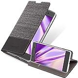 Cadorabo Funda Libro para Sony Xperia E5 en Gris Negro - Cubierta Proteccíon con Cierre Magnético, Tarjetero y Función de Suporte - Etui Case Cover Carcasa
