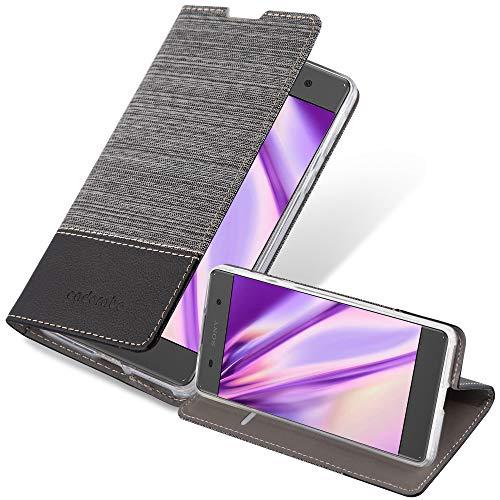 Cadorabo Hülle für Sony Xperia E5 in GRAU SCHWARZ - Handyhülle mit Magnetverschluss, Standfunktion & Kartenfach - Hülle Cover Schutzhülle Etui Tasche Book Klapp Style