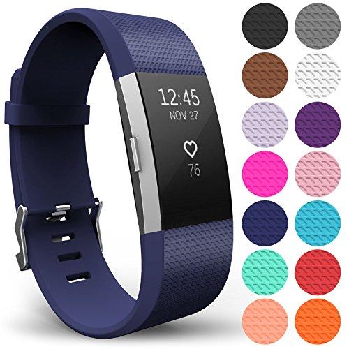 Yousave Accessories Compatibile per Fitbit Charge2 Cinturino, Sostituzione Braccialetto Sportivo in Silicone Compatibile per Il Fitbit Charge 2 - Grande - Blu Navy