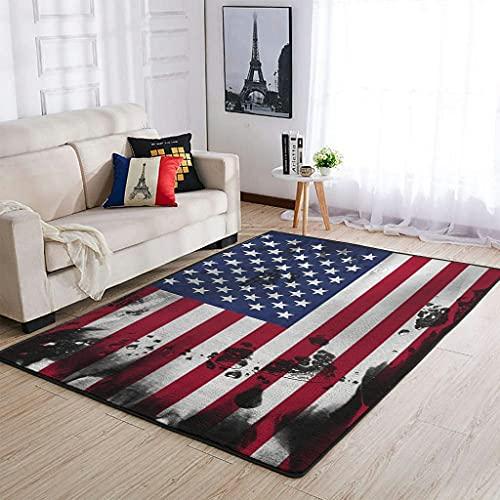 MiKiBi-77 Alfombra Bandera Americana Antideslizante - Bandera Americana Acabado Finos Alfombras para Puertas Exteriores Blanco 50x80cm