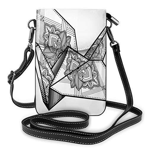 Jiger Women Small Cell Phone Purse Crossbody,Origami Style Crane Bird Design Hand Drawn Monochrome Far East Asia Folklore Motif