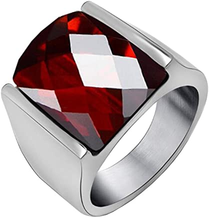 PAURO Men's Stainless Steel Diamond Cut Agate Gemstone Ring with Polished Silver Side, Black and Red