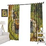 YUAZHOQI Zen Garden - Cortinas personalizadas, diseño de paisaje natural con una linterna de piedra y cuenca de agua para principios de otoño, cortina de reducción de ruido, 132 x 274 cm, multicolor