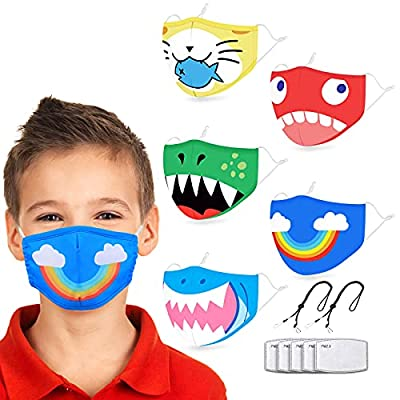 PLYRFOCE Kids Face Mask Reusable, 3-Layer Cloth Face Mask Washable and Breathable, Kids Adjustable Face Mask with Ear Loops, Gifts for Boys and Girls, 5 Pcs