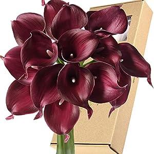 FiveSeasonStuff Real Touch Calla Lily Artificial Flowers Wedding Bridal Bouquet | Floral Arrangements | 15 Calla Lilies (Festive Burgundy)