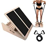 PACEARTH Professional Wooden Slant Board Calf Ankle Stretcher with Stretch Resistance Tube Adjustable Incline Non-Slip Tread Side Handles Support 450 lbs for Achilles Plantar Fasciitis - Home Gym
