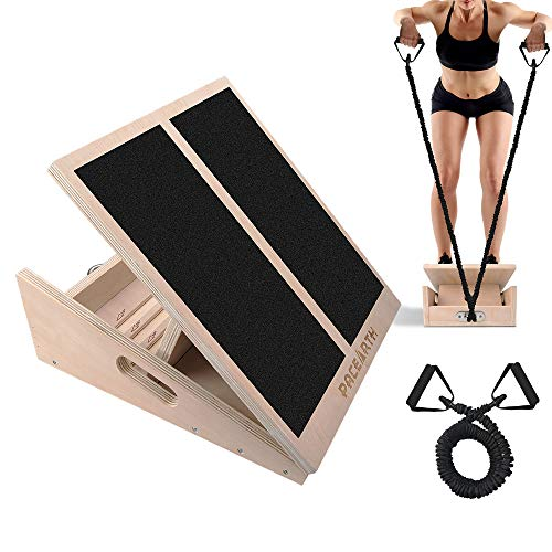 PACEARTH Professional Wooden Slant Board Calf Ankle Stretcher with Stretch Resistance Tube Adjustable Incline Non-Slip Tread Side Handles Support 440 lbs for Achilles Plantar Fasciitis - Home Gym