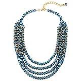 COOLSTEELANDBEYOND Cuatro Capas Azul Cristal Cuentas Cluster Babero Gargantilla Choker Colgante Collar Entretejido con Color Oro Alambre