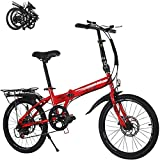 MXCYSJX Bicicleta Plegable, Bicicleta Plegable para Adultos, Bicicletas Ligeras para Hombres Y Mujeres, Bicicleta Plegable De 20 Pulgadas, Bicicleta Plegable para Ciudad, Bicicleta Compacta,Rojo,20in