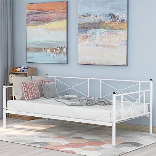 Multifunctional daybed Frame, Metal Daybed with Headboard and Steel Slats, Twin Size, White