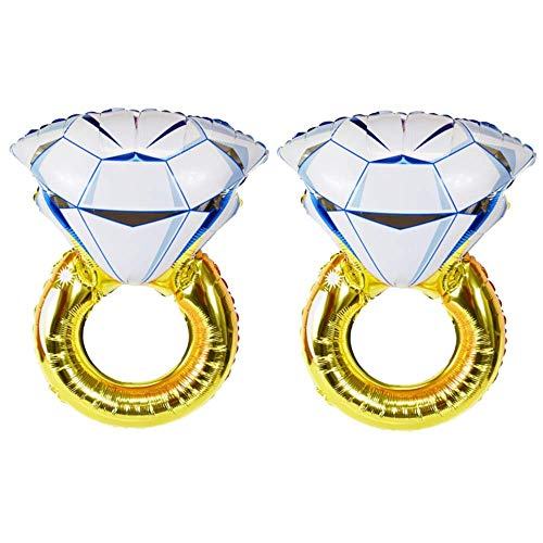 Bocotoer Diamant Ring Helium Folienballon Set als Hochzeit Luftballon Set 70cmx45cm Deko oder Liebes-Überraschung Packung mit 2