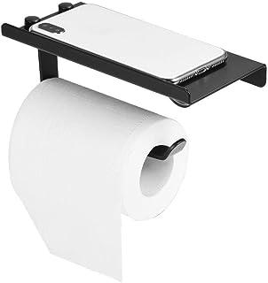 FTVOGUE - Soporte de Papel Higiénico de Aluminio, Soporte para Teléfono Antideslizante,Color Negro
