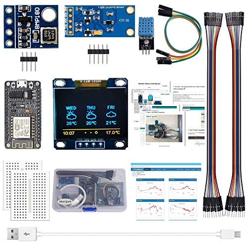 "ESP8266 Weather Station Kit with DHT11 Temperature Humidity BMP180 Atmosphetic Pressure BH1750FVI Light Sensor 0.96"" OLED IIC YellowBlue Display for Arduino IDE IoT Starter(Guidance Document Included)"
