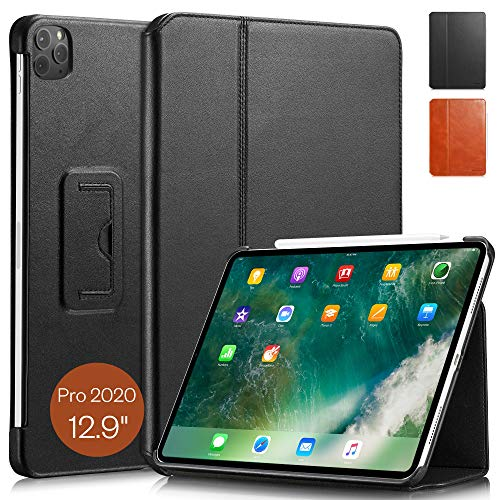 KAVAJ Case Leather Cover'Berlin' works with Apple iPad Pro 12.9' 2020 Black Genuine Cowhide Leather with Built-in Stand Auto Wake/Sleep Function. Slim Fit Smart Folio Covers