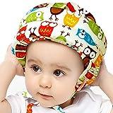 IULONEE Casco protettivo per bambino in cotone con protezione per la testa, cappello protettivo per bambini, casco protettivo regolabile (Gufo giallo)